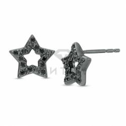 Серьги-гвоздики из черного золота с бриллиантами в форме звездочек