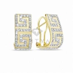Серьги-Конго из желтого золота с бриллиантом