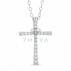 Декоративный крестик из белого золота с бриллиантом