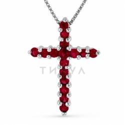 Декоративный крестик из белого золота с рубином