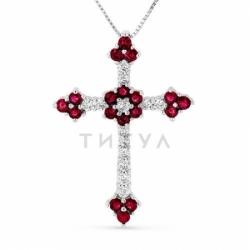 Декоративный крестик из белого золота с рубином и бриллиантом