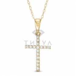 Декоративный крестик из желтого золота с бриллиантом