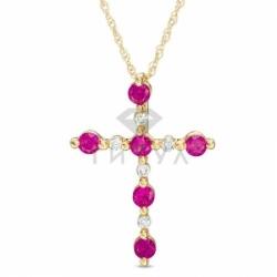 Крестик из желтого золота с рубинами и бриллиантами