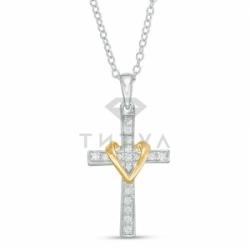 Декоративный крестик из комбинированного золота с бриллиантом