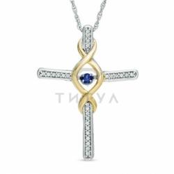 Декоративный крестик из комбинированного золота с сапфиром и бриллиантом
