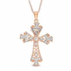 Декоративный крестик из красного золота с бриллиантом