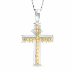 Декоративный мужской крестик из комбинированного золота с бриллиантом