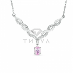 Колье из белого золота с розовым сапфиром и бриллиантом