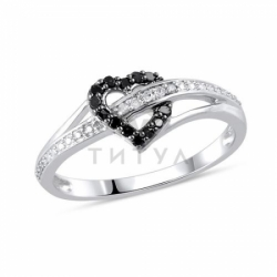 Кольцо с сердцем из белого золота с черными бриллиантами