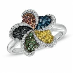 Кольцо в виде цветка из белого золота с разноцветными бриллиантами