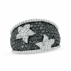 Кольцо Звездочки из белого золота с черными бриллиантами