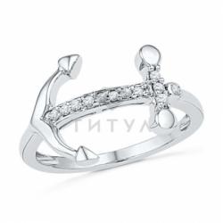 Кольцо с якорем из белого золота и бриллиантов