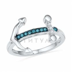 Кольцо в виде якоря из белого золота с голубыми бриллиантами