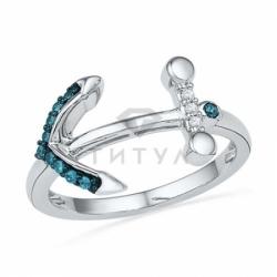 Кольцо в форме якоря из белого золота с голубыми бриллиантами