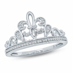 Кольцо в виде короны из белого золота с бриллиантами