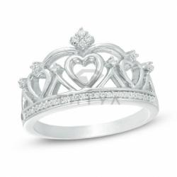 Кольцо Корона из белого золота с бриллиантами
