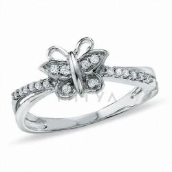 "Кольцо ""Бабочка"" из белого золота с бриллиантами"