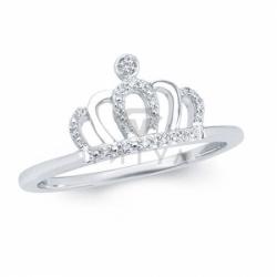 Кольцо в форме короны из белого золота с бриллиантами