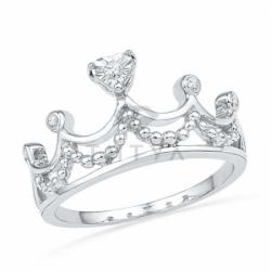 Кольцо с короной из белого золота с бриллиантами