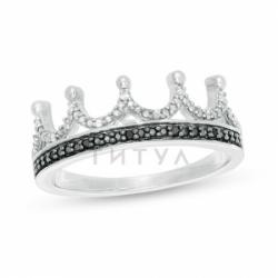 Кольцо Корона из белого золота с черными и белыми бриллиантами