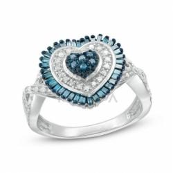 """Кольцо """"Сердце"""" из белого золота с бриллиантами"""