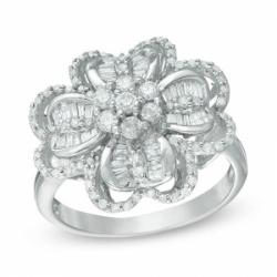 "Кольцо ""Цветок"" из белого золота с бриллиантом"