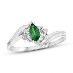 Кольцо из белого золота с изумрудом и бриллиантом