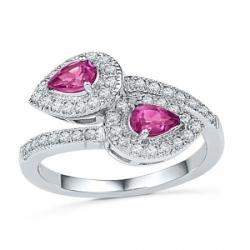 Кольцо из белого золота с розовым сапфиром