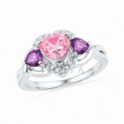 Кольцо из белого золота с розовым сапфиром и аметистом и бриллиантом
