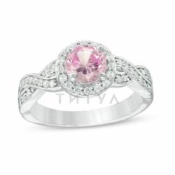 Кольцо из белого золота с розовым сапфиром и бриллиантом