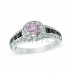 Кольцо из белого золота с розовым сапфиром, шпинелью и бриллиантом