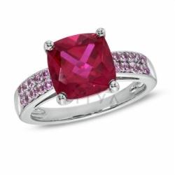 Кольцо из белого золота с рубином и розовым сапфиром