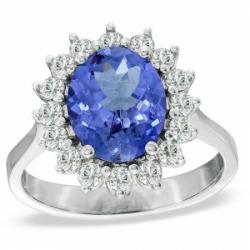 Кольцо из белого золота с танзанитом и бриллиантом