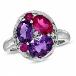 Кольцо из белого золота с цветными камнями