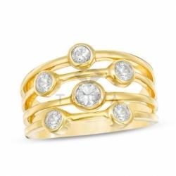 Кольцо из желтого золота с белым сапфиром