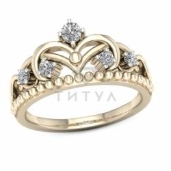 Кольцо Корона из желтого золота с бриллиантами