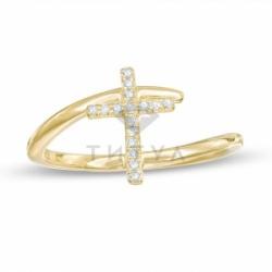 Кольцо с крестиком из желтого золота с бриллиантами