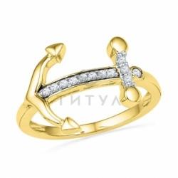 Кольцо в виде якоря из желтого золота с бриллиантами