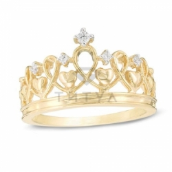 Кольцо Корона с сердечками из желтого золота с бриллиантами