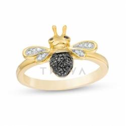 Кольцо в виде пчелы из желтого золота с бриллиантами