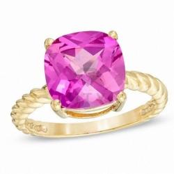 Кольцо из желтого золота с розовым сапфиром