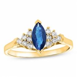 Кольцо из желтого золота с сапфиром и бриллиантом