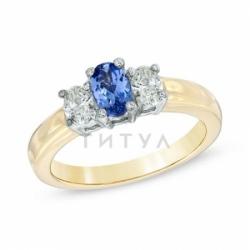 Кольцо из желтого золота с танзанитом и бриллиантом