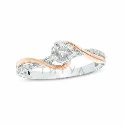 Кольцо из комбинированного золота с бриллиантом и сапфиром