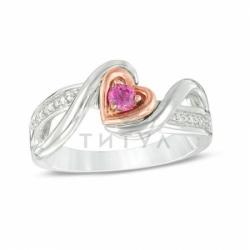 Кольцо из комбинированного золота с розовым сапфиром и бриллиантом