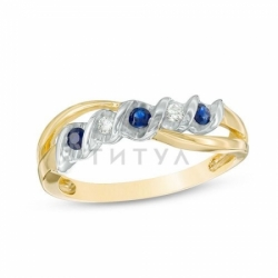 Кольцо из комбинированного золота с сапфиром и бриллиантом