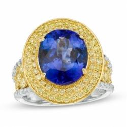 Кольцо из комбинированного золота с танзанитом и бриллиантом