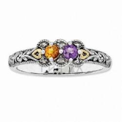 Кольцо из комбинированного золота с полудрагоценными камнями и бриллиантами