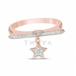 Кольцо Звездочка из красного золота с бриллиантами