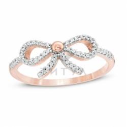 "Кольцо ""Бантик"" из красного золота с бриллиантами"